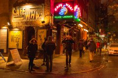 Cafe Wha NYC. People on MacDougal Street in Greenwich Village. Street Photography with Fujifilm.