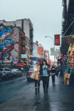 Rainy day on the Mulberry Street in Little Italy in Lower Manhattan Street Photography with Fujifilm