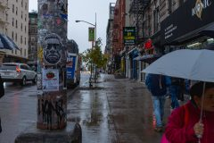 Rainy day on the Mulberry Street in Little Italy in Lower Manhattan Street Photography with Fujifilm.