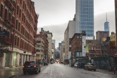 Rainy day on the Lafayette Street in SoHo in Lower Manhattan Street Photography with Fujifilm.